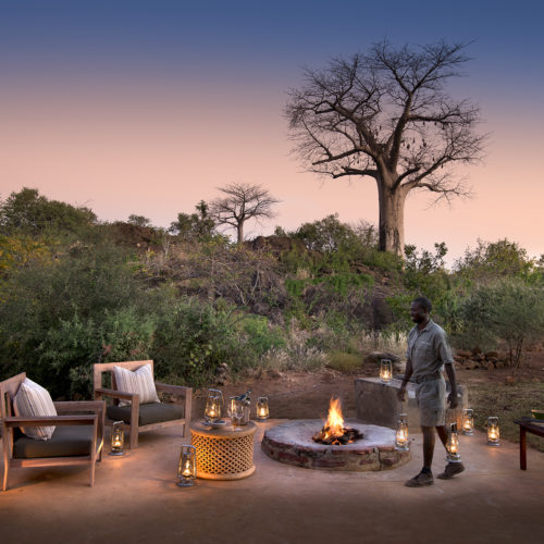 Safari bush house outdoor fire pit