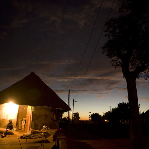 African village hut with electricity