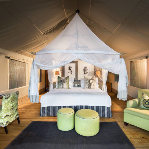 Luxury safari tent accommodation bedroom