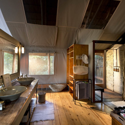Luxury tented safari lodge bathroom