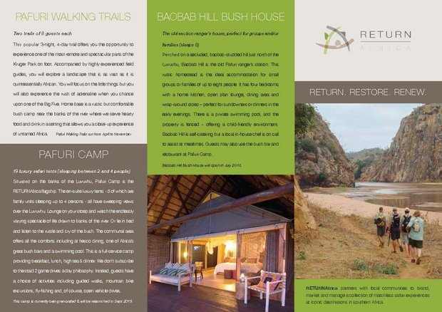 The RETURNAfrica brochure will be available at INDABA 2015